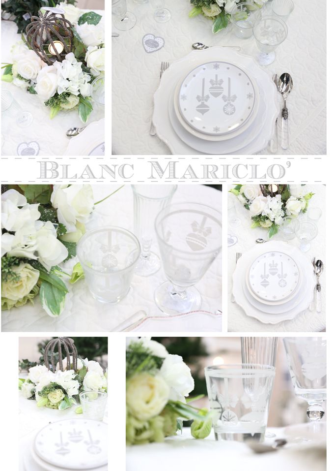 blanc mariclo silver christmas decorations and table setting
