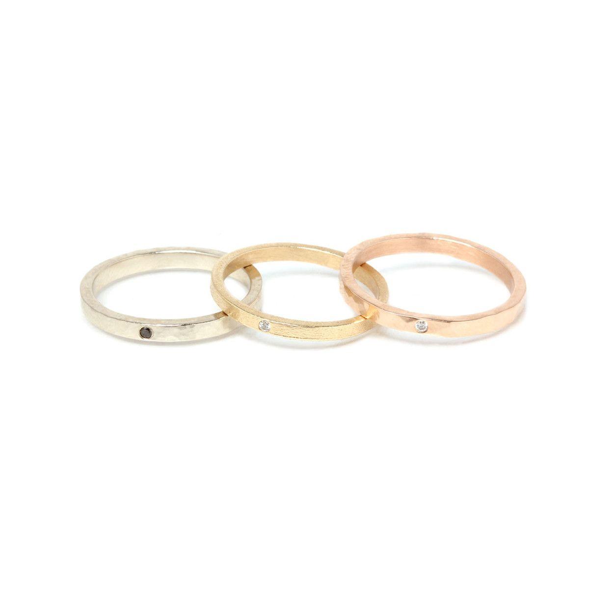 14k flat stack rings