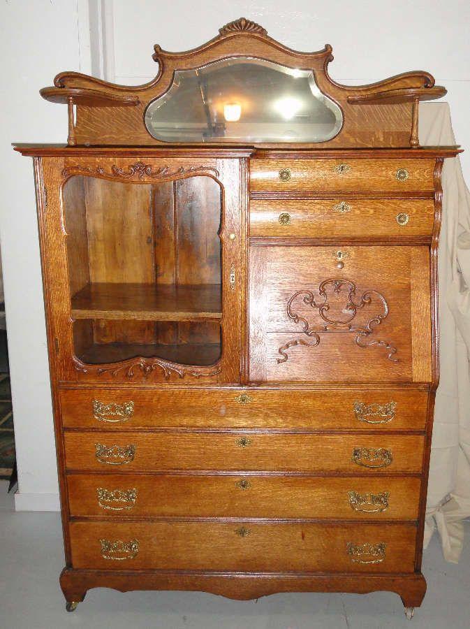 Antique quarter sawn oak American secretary / bookcase / buffet. Circa 1890  | eBay - Antique Quarter Sawn Oak American Secretary / Bookcase / Buffet