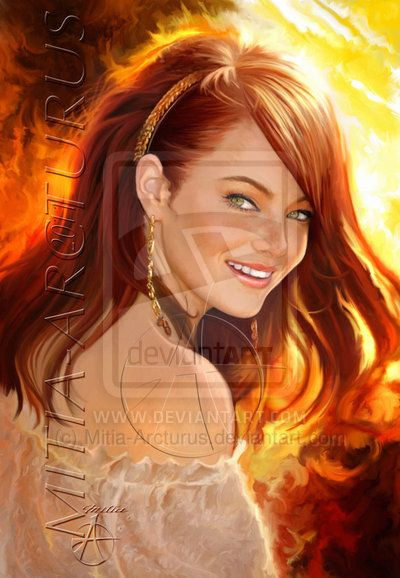 Smile of Fire by *Mitia-Arcturus on deviantART {digital art} ~ Emma Stone