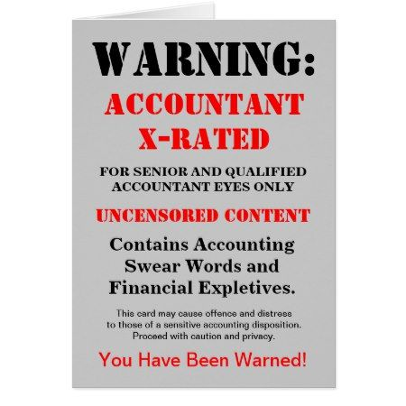 Accountant X Rated Funny Joke Add Name Caption Card Birthday