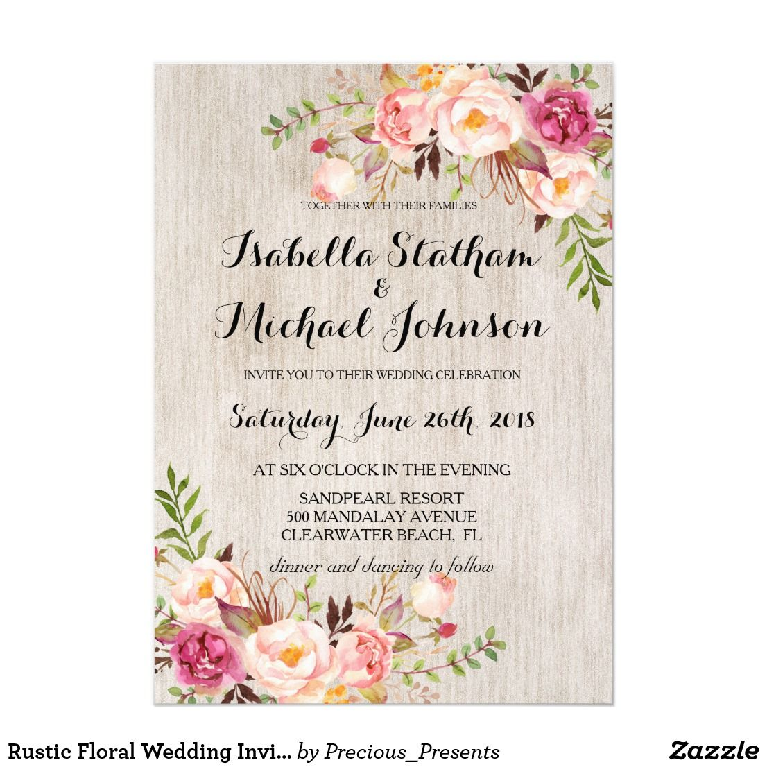 "Rustic Floral Wedding Invitation/Watercolor bg-2 Card Check out more popular styles of wedding invitations from the ""rustic floral wedding invitation set"" collection of my shop! Clicking the ""Customize it"" button will allow you to edit font color, font and position of the text and pattern."