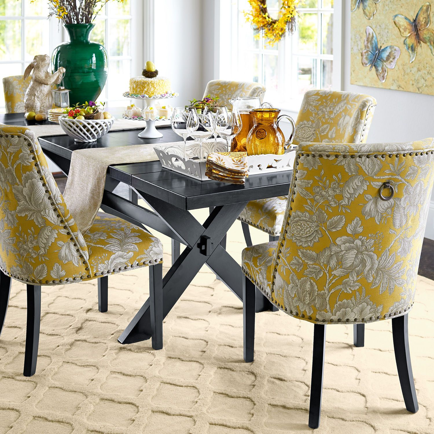 Black White Floral Dining Side Chair Set: Corinne Gold Dining Chair With Black Espresso Wood