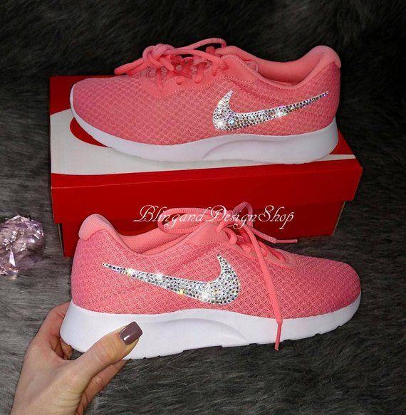 Custom Bling Swarovski Womens Nike Tanjun Sneaker- New in Box! Color of shoe-  Lava Glow I use Crystal clear Swarovski stones on these shoes. aa3b40ade