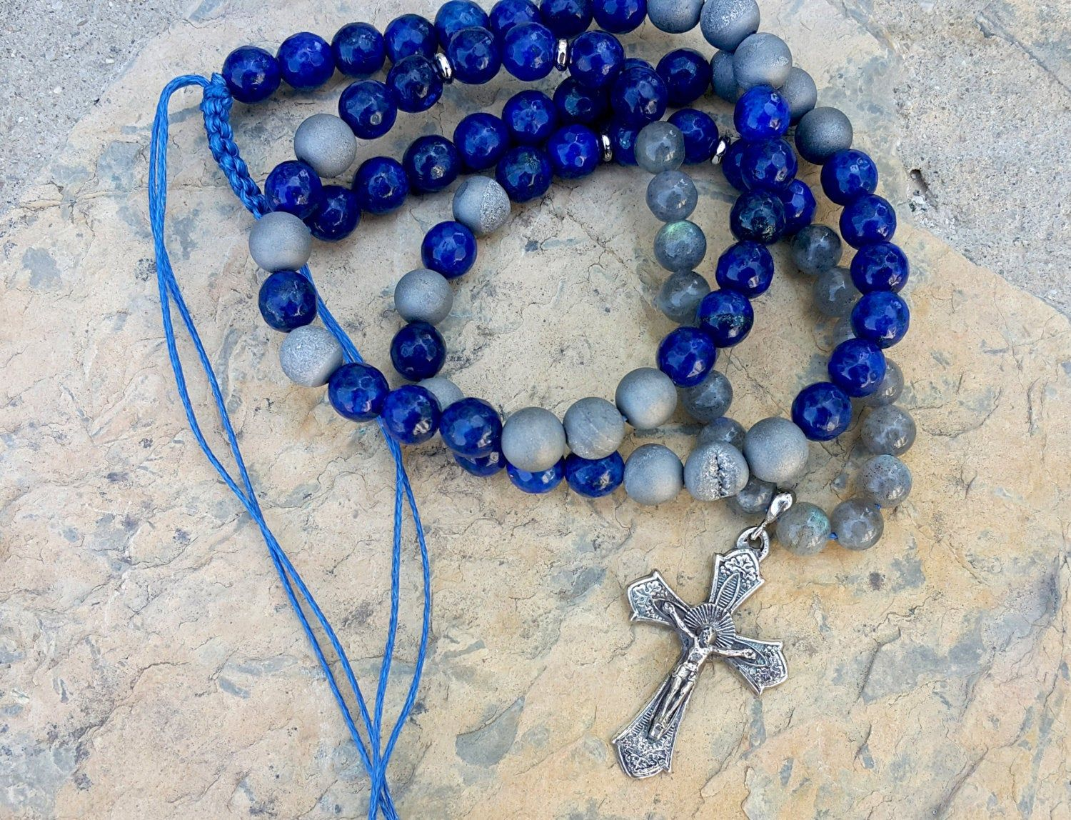 Christian Gifts Men Necklace  Sterling Silver Cross Beaded Necklace Catholic Rosary Lapis Labradorite Geode Metallic Agate Bead Necklace #catholicrosaries