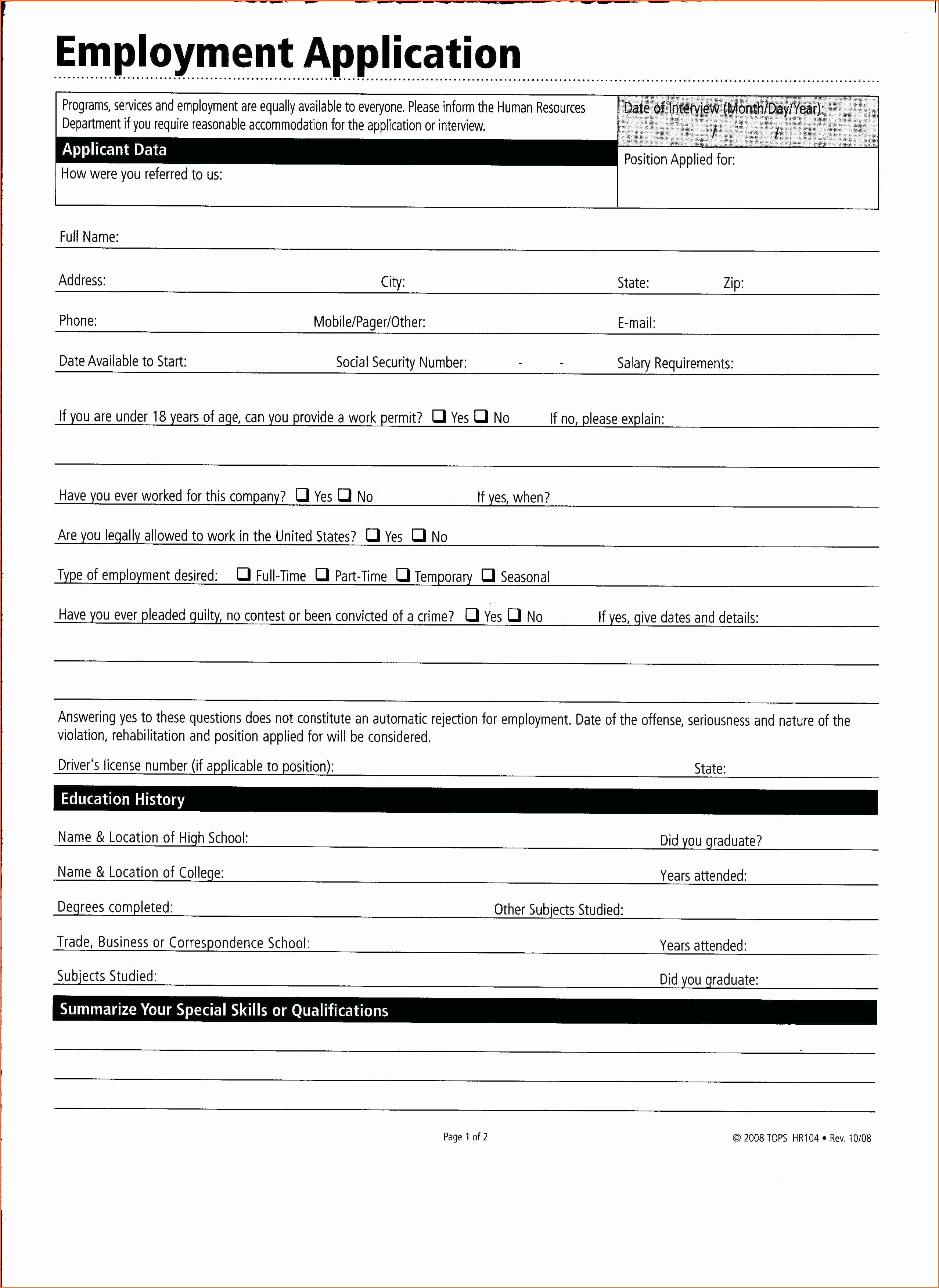 007 Employment Application Template Microsoft Word Ideas Job With