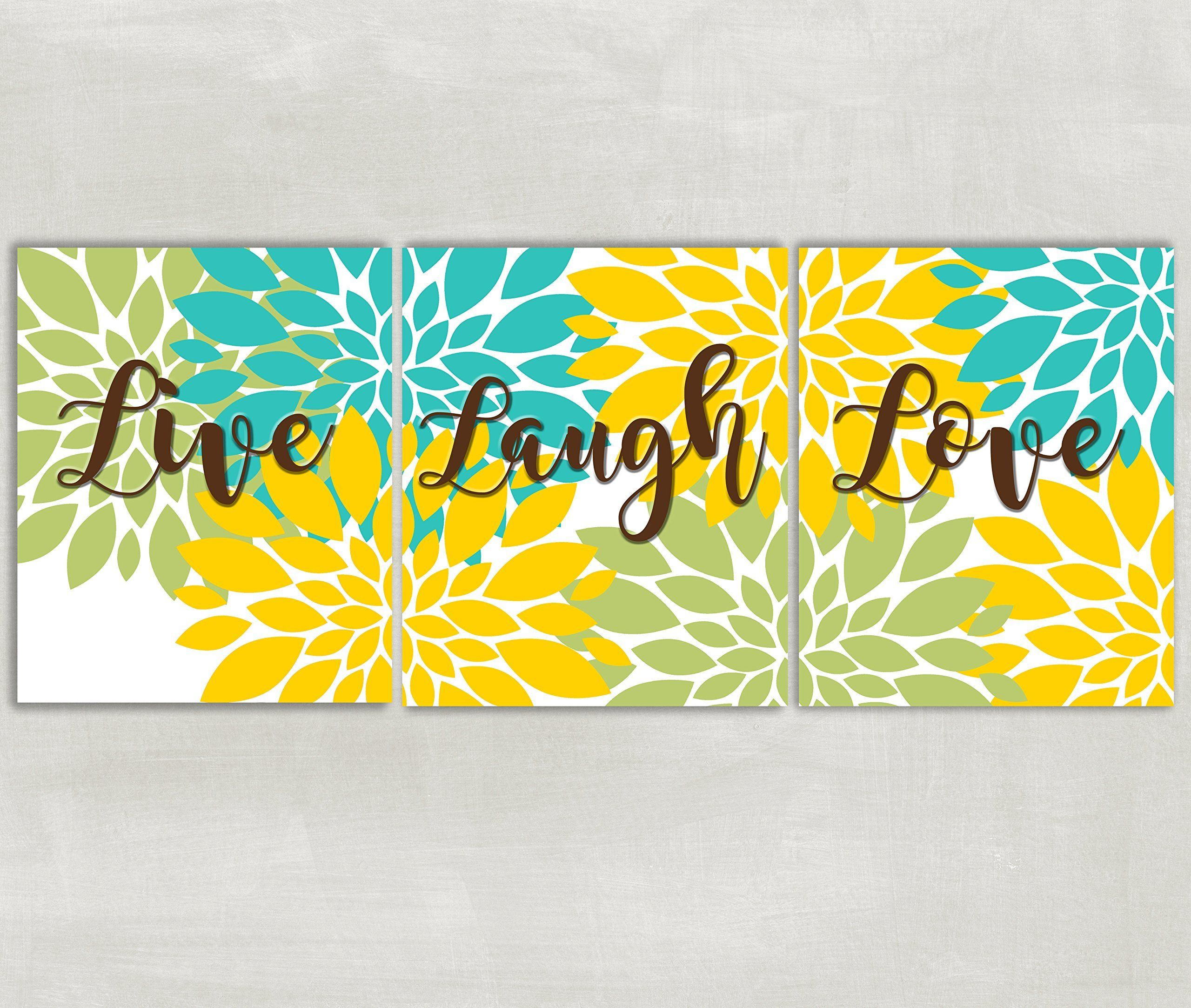 Live Laugh Love wall art Floral burst home decor Flowers Dahlia ...
