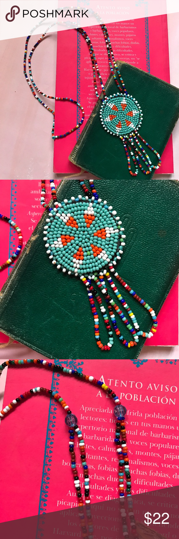 """Beaded Pendant Necklace Vintage beaded with hanging loops. Hand worked and unique! 16.5"""" L Costume Baldor Jewelry Necklaces"""