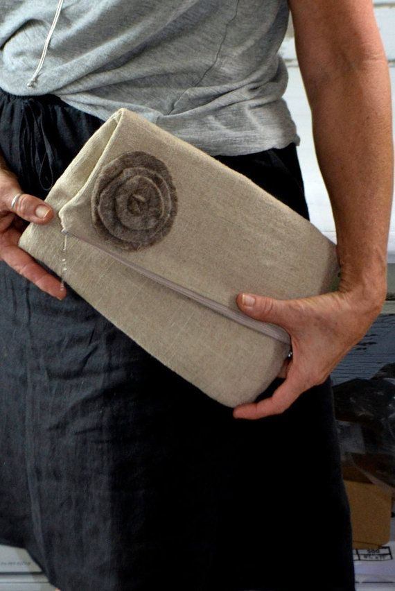 Fold over Envelope clutch,  Simple, natural Linen & Felted Wool Flower, Zipper close  by Darby Mack, made in the USA  in stock