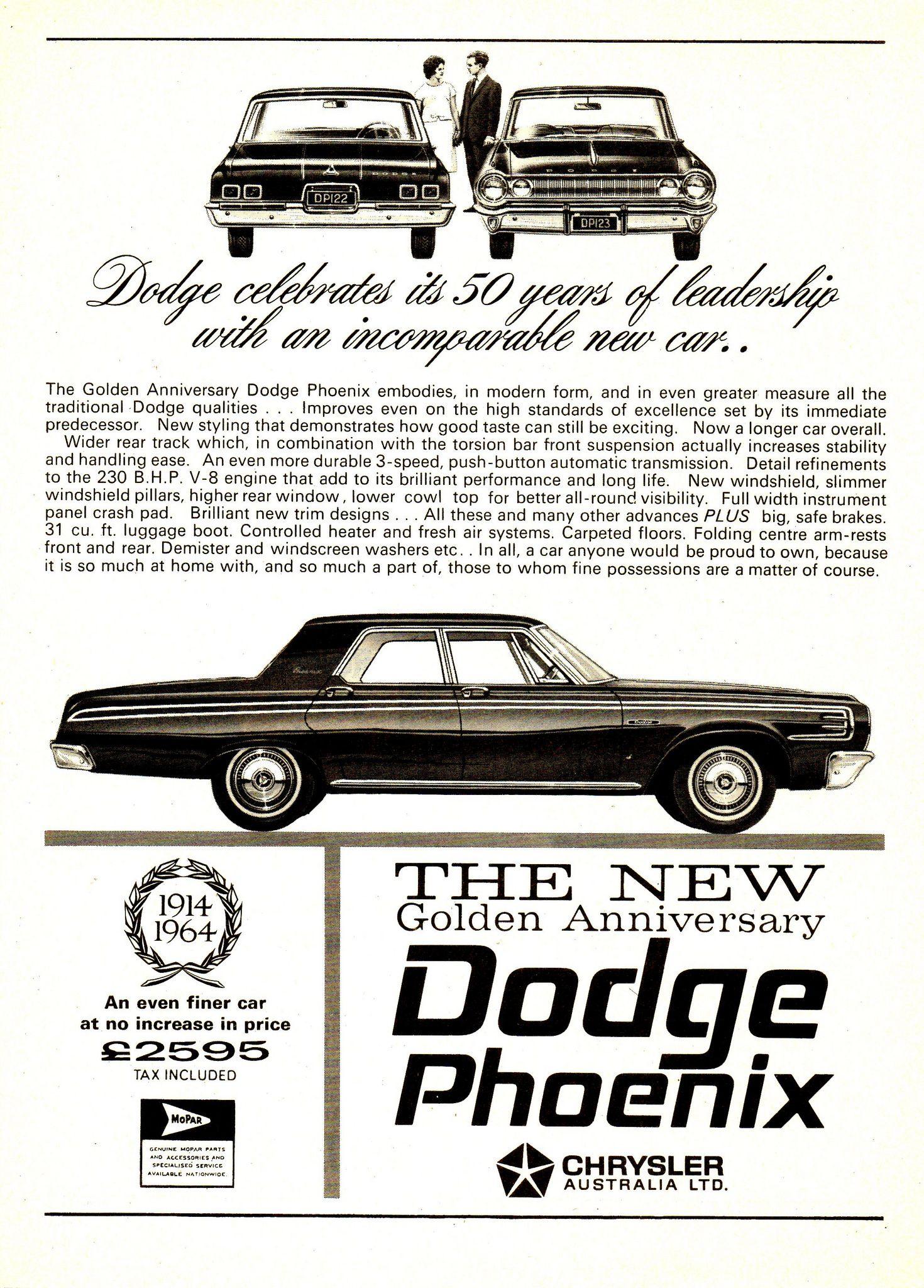 1964 VD2 Dodge Phoenix Golden Anniversary 1914-64 Chrysler Australia ...