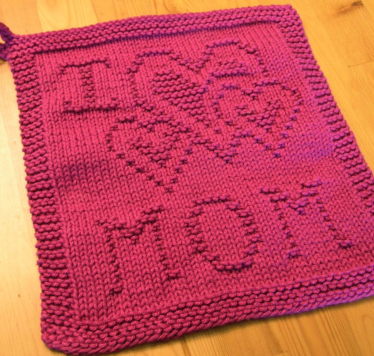 Free Knitting Pattern for I Heart Mom Cloth and other free Mother\'s ...