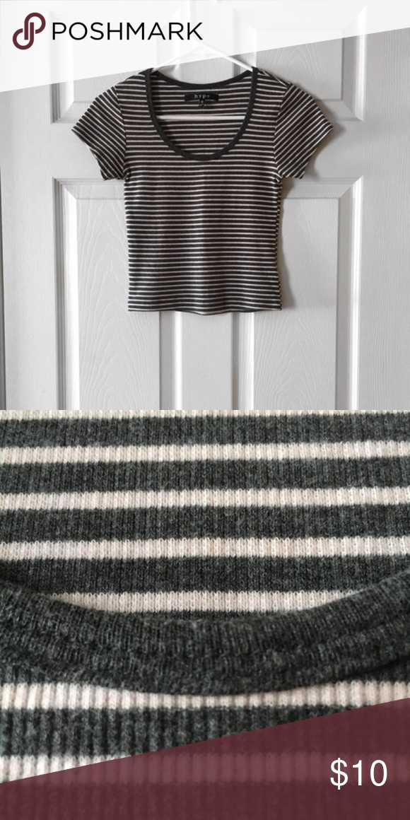 Striped crop top Dusty pink and grey stripes, great condition Tops Crop Tops