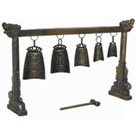 Oriental Furniture 6.5Inch Tibetan Five Bell Gong Tabletop Decoration
