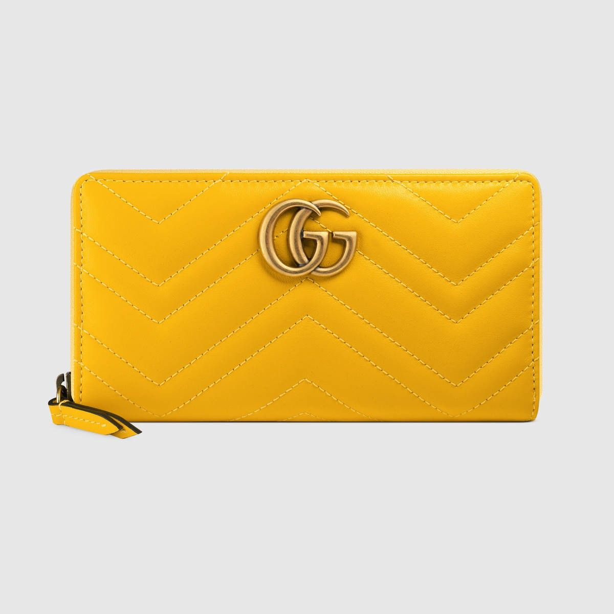 0ea32cf90e51d1 GUCCI Gg Marmont Zip Around Wallet - Yellow Leather. #gucci #all ...