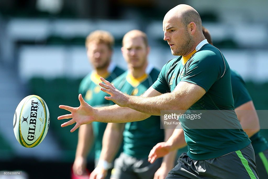 Stephen Moore receives the ball during the Wallabies captain's run at nib Stadium on September 16, 2016 in Perth, Australia.