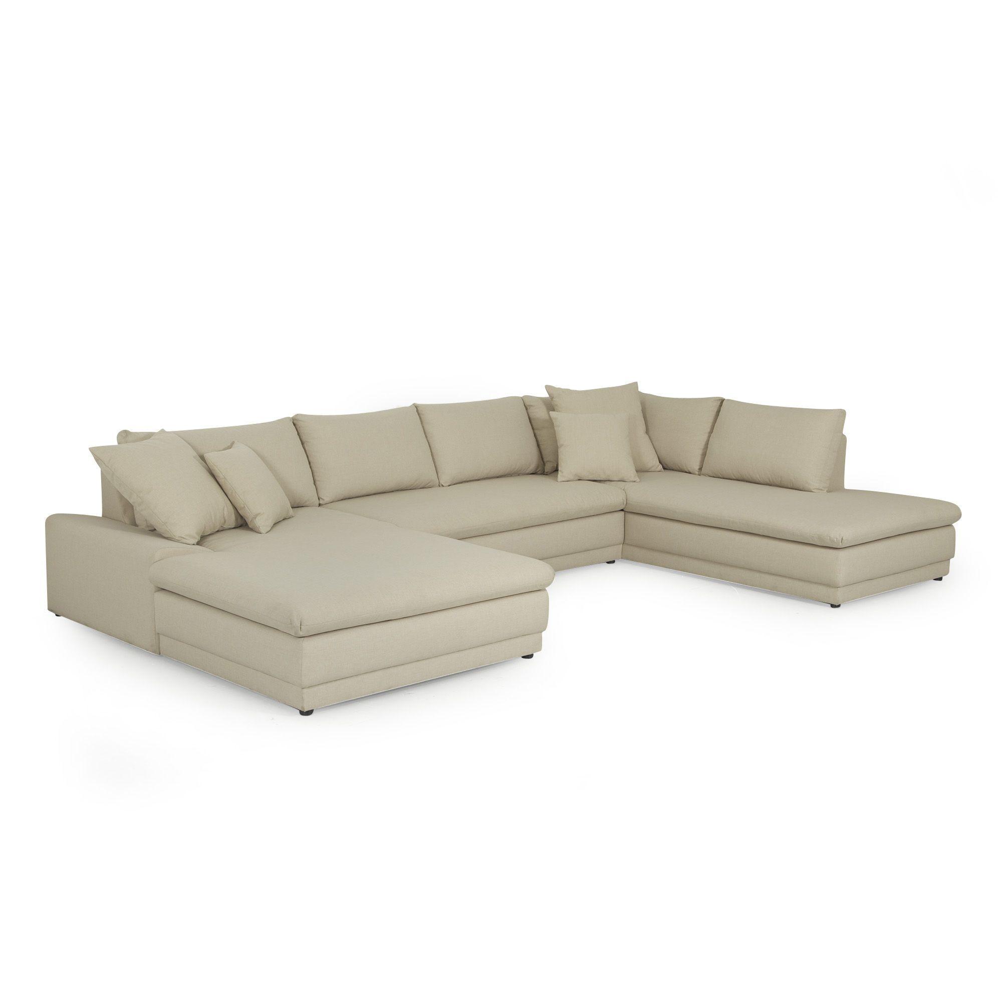 grand canap d 39 angle fixe sable santacruz canap s en tissu canap s et banquettes salon. Black Bedroom Furniture Sets. Home Design Ideas