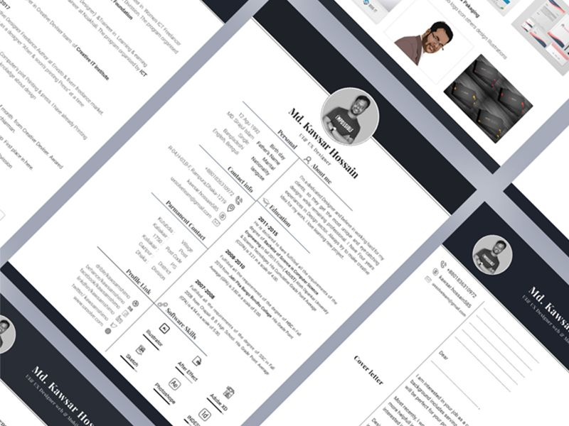 Free Material Style Free Resume Template & Cover Letter
