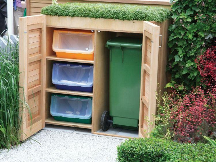 Mülltonnenbox mit Regal und grünem Dach Garten Pinterest