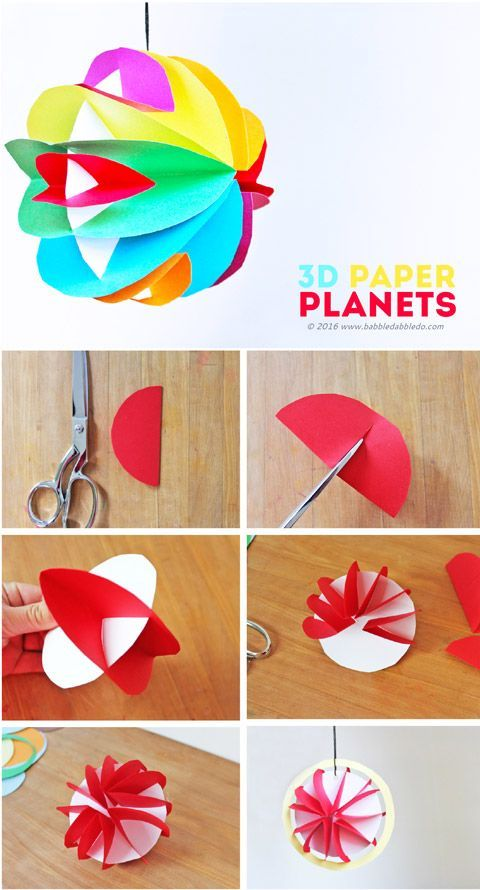 Easy Planet Craft for Kids 3D Paper Planets Papel Arte de