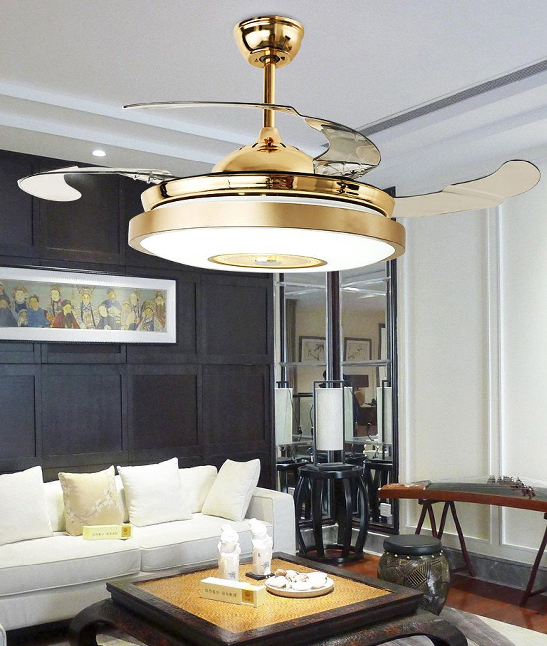 42 Mute Ceiling Fan Light With Bluetooth Speaker And Remote Control Stepless Dimming Chandelier Penda Ceiling Fan In Kitchen Ceiling Fan With Light Ceiling Fan
