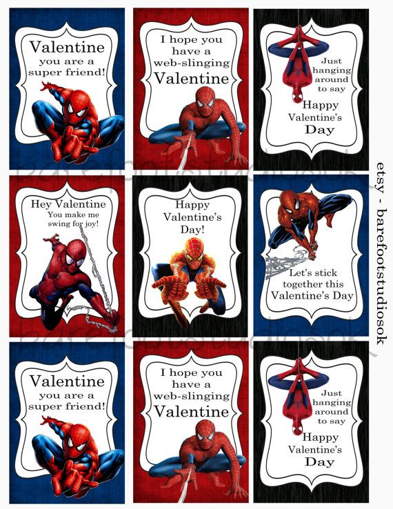 Spiderman Printable Valentines 8 5x11 Digital Instant Download Valentines Printables Valentines For Kids Valentines School