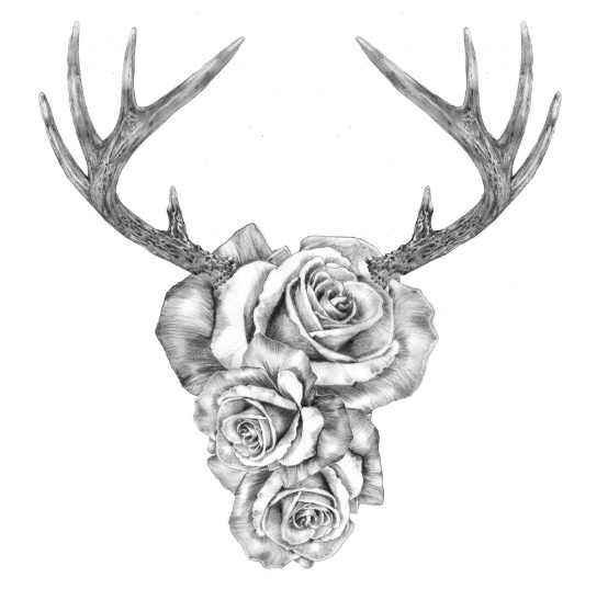 Antlers With Flowers Tattoo