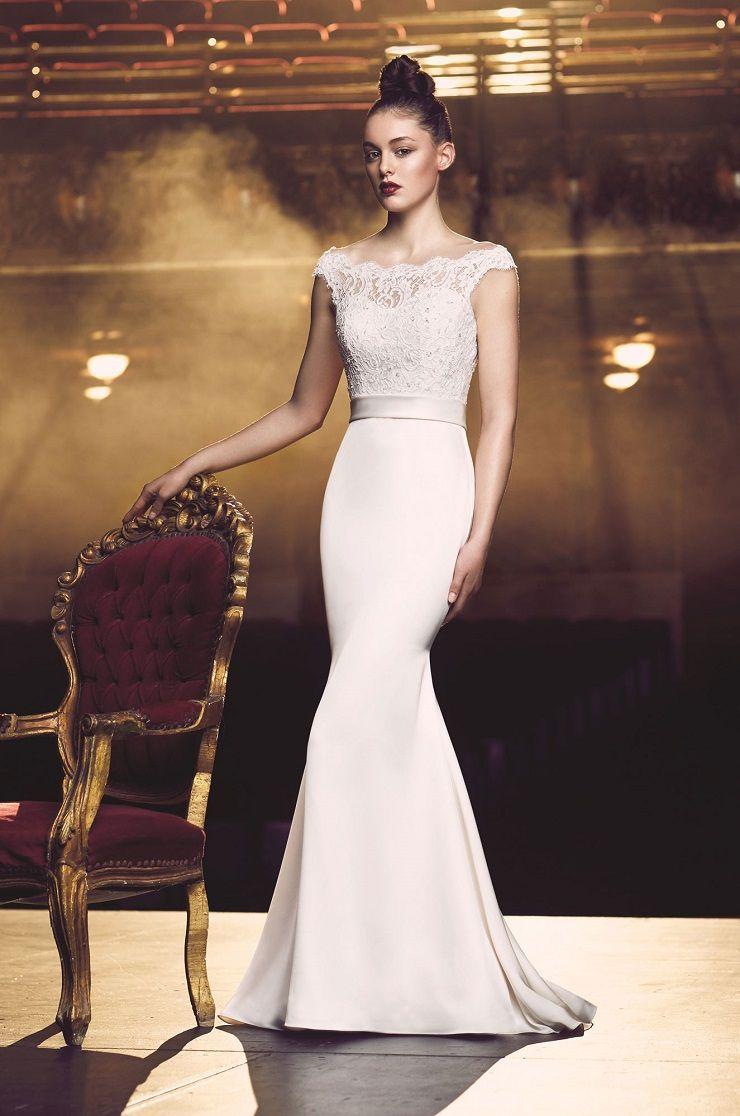 Satin Wedding Dress. Off the shoulder beaded lace | Paloma Blanca style 4716 | itakeyou.co.uk#bridal #wedding #weddingdress #weddinggown #bridalgown #dreamgown #bridaldress #dreamdress #weddinginspiration #bridalinspiration #weddingdresses