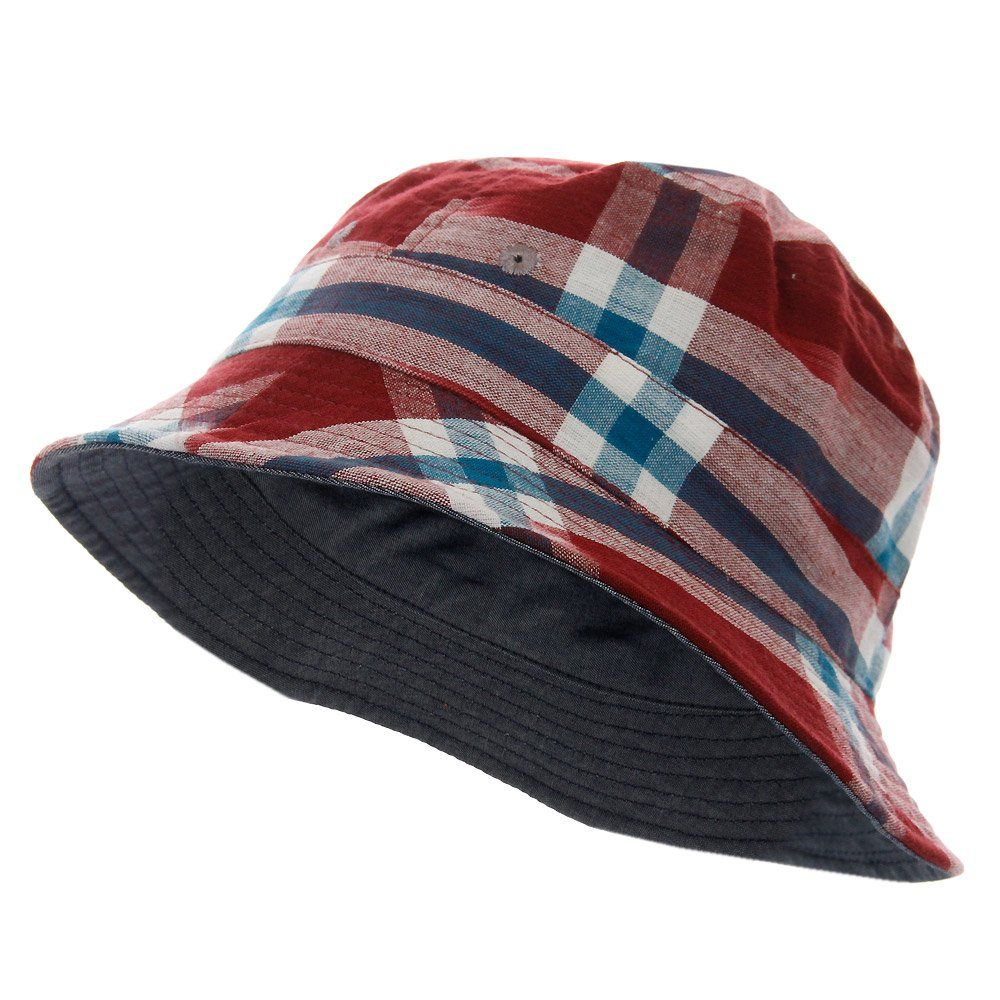 Universal Works Ikat Check Red Bucket Hat 12817  504bdd1a9115