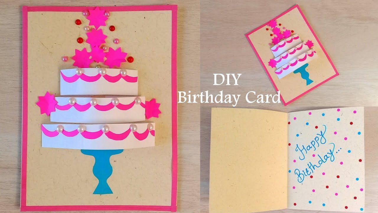 Diy Handmade Birthday Card How To Make Birthday Cake Card Rangoli In 2021 Greeting Card Craft Birthday Cake Card Birthday Wishes Greeting Cards