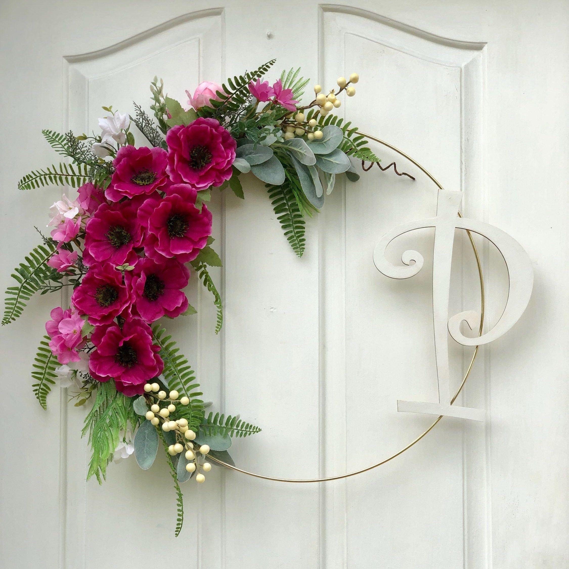 Photo of Modern Wreath for Front Door, Personalized Wreath, Pink Hoop Wreath, Summer Door Decor