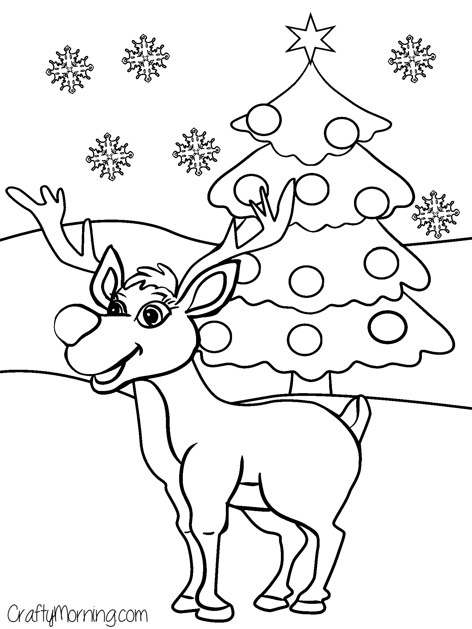 rudolph reindeer coloring page | christmas animals and trees | Pinterest