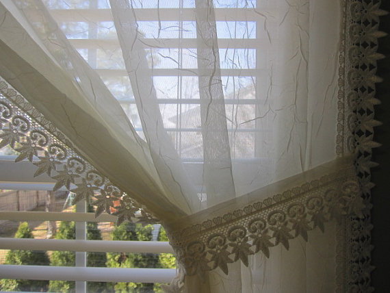 White Semi Sheer Voile Curtain Panel With Macrame Lace Border And