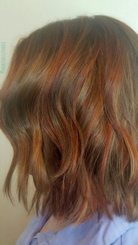 Copper and golden blonde highlights over a level 7 base color ...