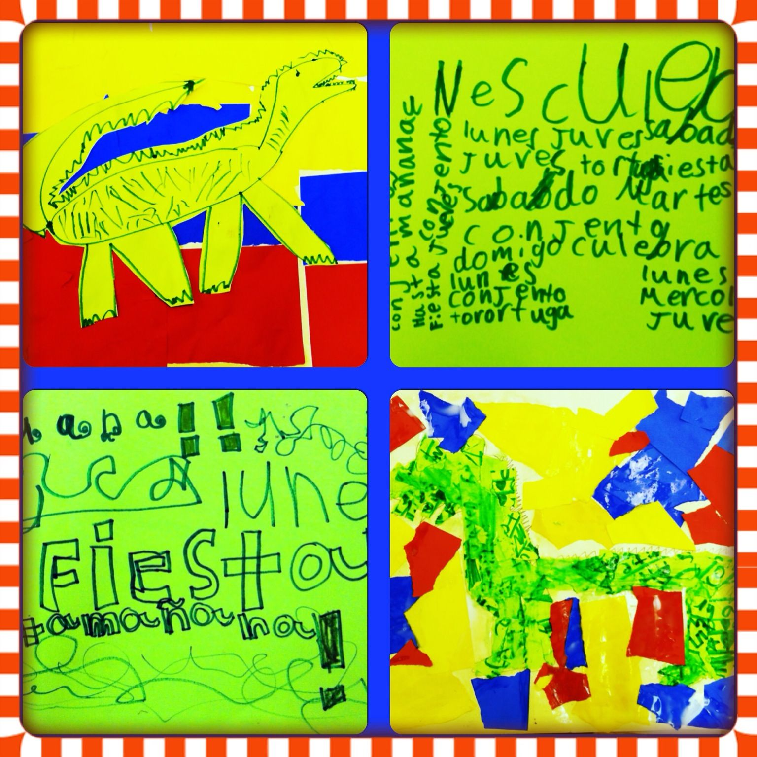 Iguana collages made during our unit on Colombia & Venezuela using ...