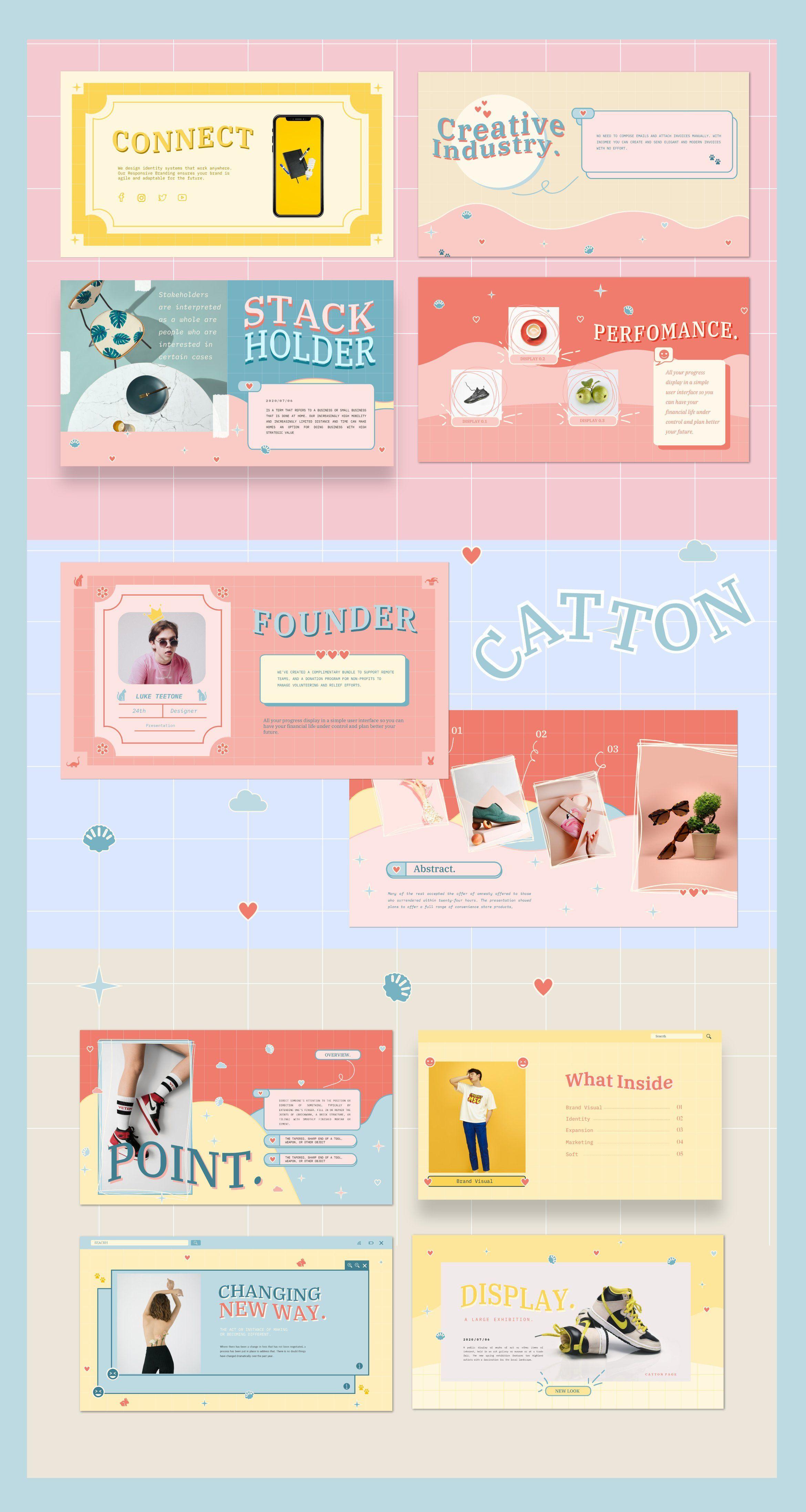 Catton Cute Pastel Powerpoint Kartu Nama Bisnis Desain Web Templat Power Point