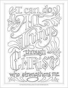 I Can Do All Things Coloring Page Bible Coloring Pages Bible Coloring Scripture Coloring