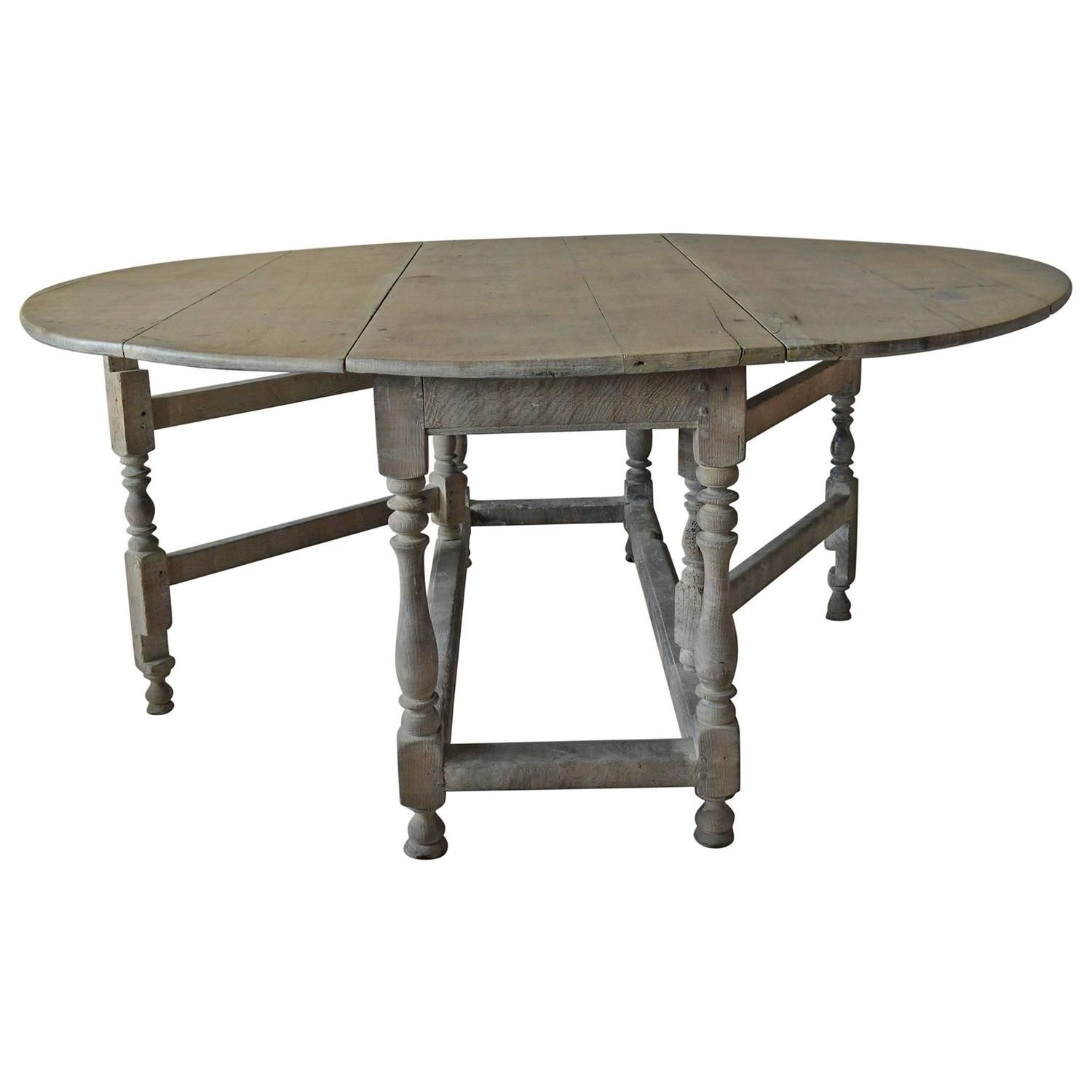 Large Antique Limed Oak Round Or Oval Dining Table English 18th