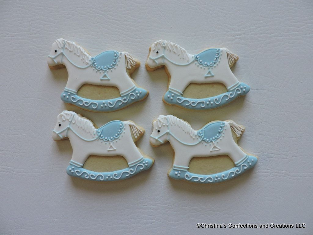 Hand Decorated Rocking Horse Sugar Cookies Party Favor For Baby Showers 2354 Horse Cookies Cookie Party Favors Baby Cookies