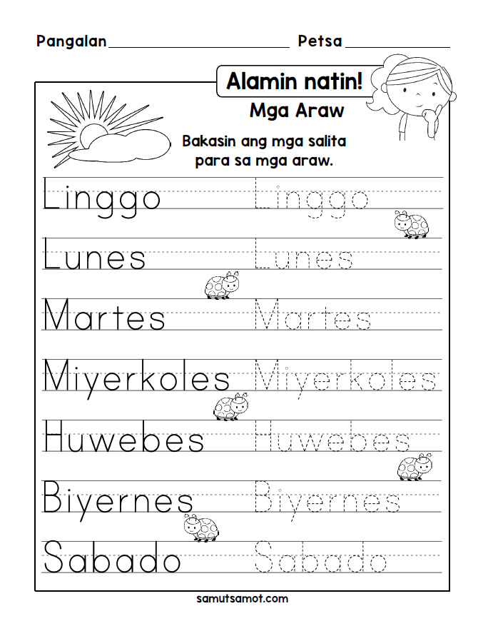 Filipino Worksheets Samutsamot Preschool worksheets