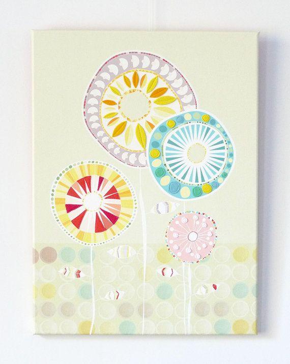 Kleurrijke Bloemen gestikt op canvas van lauraamiss op Etsy