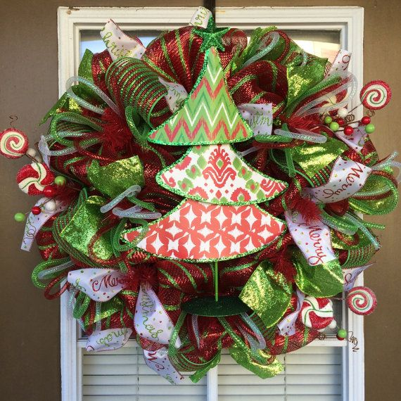 Christmas Tree Deco Mesh Wreath Deco mesh and Wreaths