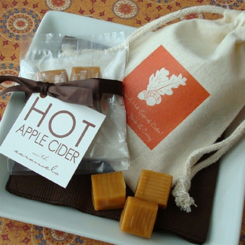 hot apple cider wedding favor...cider mix, caramels, cinnamon sticks ...