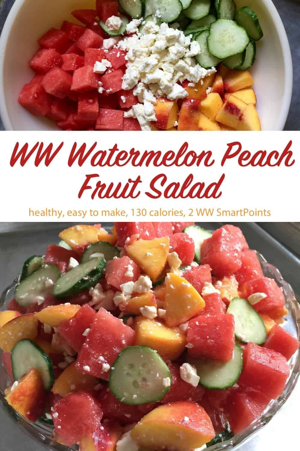 Fruit Salad with Watermelon & Peaches Chunks of juicy watermelon and fresh peaches, sliced cucumber and peaches tossed with vinegar or lemon juice and sprinkled with feta cheese makes for a light and refreshing Summertime Fruit Salad!Chunks of juicy watermelon and fresh peaches, sliced cucumber and peaches tossed with vine...