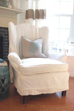 This Shows A Demonstration Of An Easy Way To Make A Slipcover. I Just Got. Chair  SlipcoversWingback ...