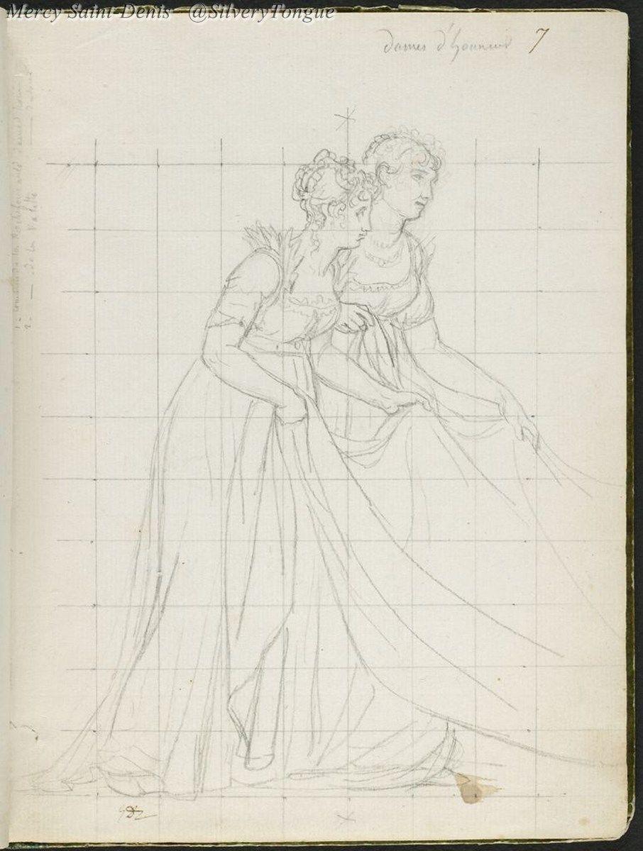 Drawings; Comtesse De La Rochefoucauld And Comtesse De La Valette, Ladies-In-Waiting.