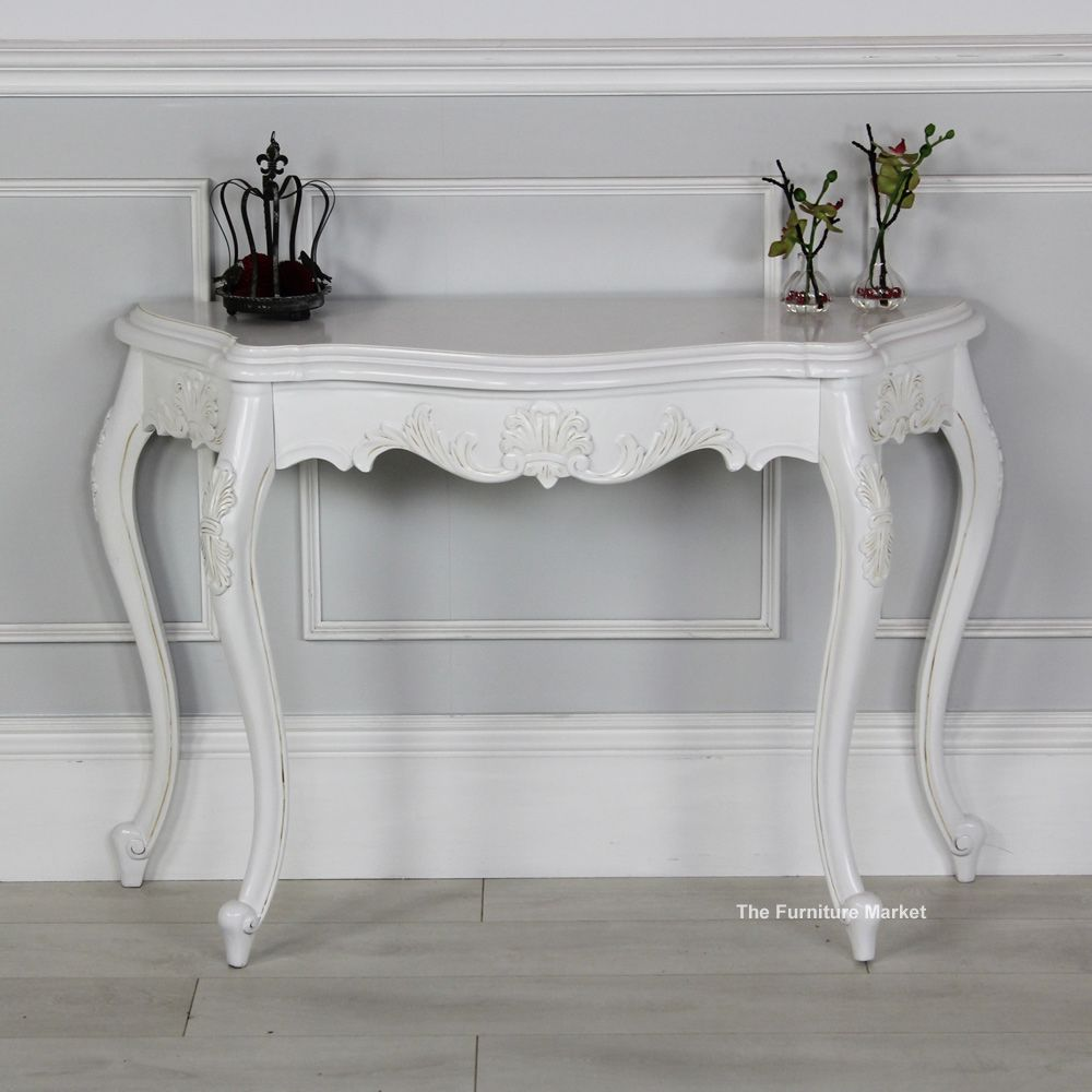 french chateau white painted carved console table  bedrooms  - french chateau white painted carved console table