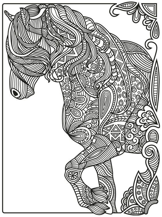 intricate horses coloring pages zentangle animales 14 colorear 4761