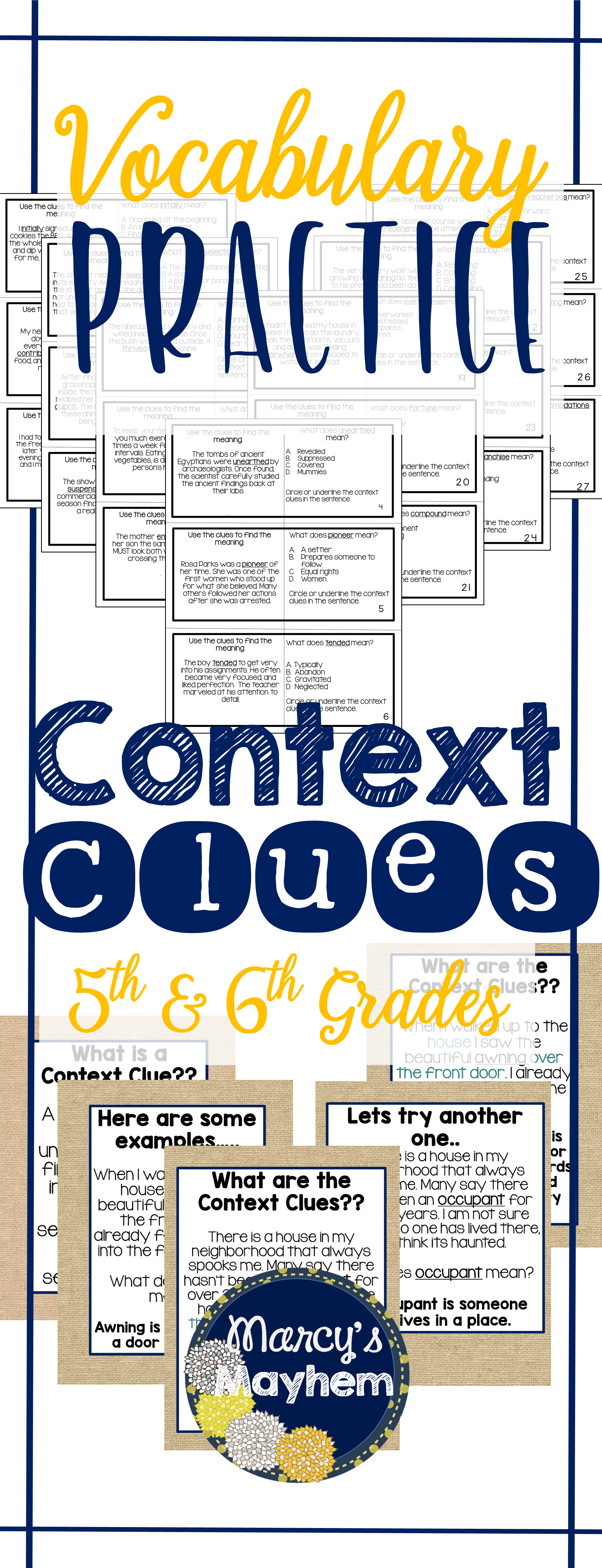 5th Amp 6th Grade Context Clues Vocabulary Activity Task