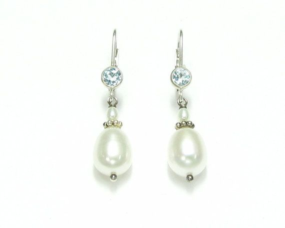 Pearl and Blue Topaz dangle Earrings on Sterling Silver lever back, June and December birthstone earrings