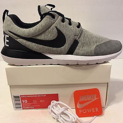 d6a2ac8b62ca New DS Nike Roshe Run Sz 10 NM W SP Tech Fleece Heather Grey White Black  Nikelab